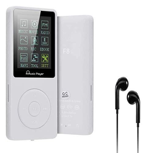 Lychee Reproductor MP3 70 Horas de Reproducción de Música MP3 sin Pérdida de Sonido Hi-Fi Entrada 8 GB de Música MP4 (soporta hasta 64 GB) (Blanco)