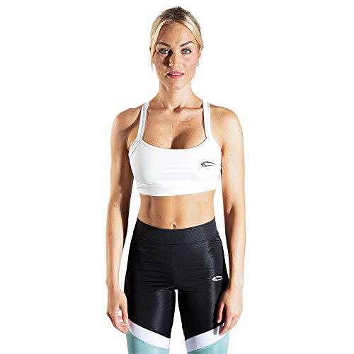 SMILODOX Sport Bra Cross | Fitness-BH ohne Bügel | Starker Halt im Training | Bustier für Pilates Yoga Gym Fitness | Soft Büstenhalter, Farbe:Weiß, Größe:M