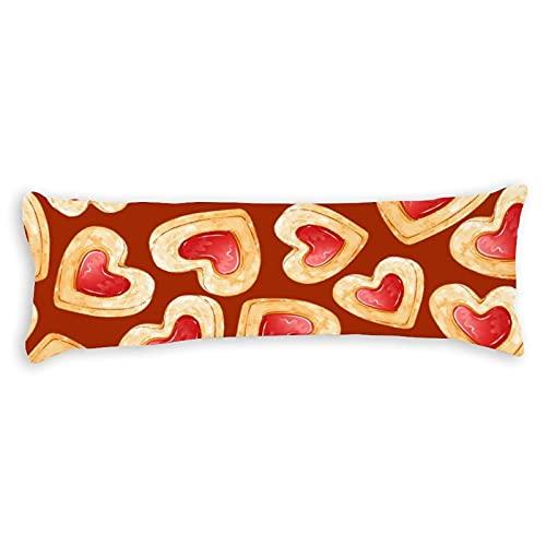 Körperkissenbezug Baumwolle 1,5 m Shortbread Cookies in Form von Herzen mit Marmelade Lange Körperkissenhülle Bezug süß mit Reißverschluss für Kinder