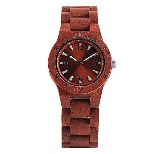 Reloj de madera, reloj de pulsera completo de madera para hombres y mujeres, color marrón oscuro casual de negocios reloj de cuarzo de...