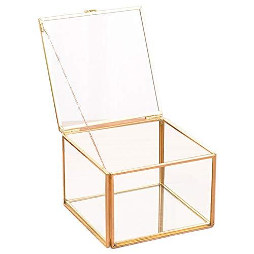 Preisvergleich Produktbild Tiamu Platz ffnung Glas Geometrie Garten Schmuck Schatulle Spiegel Schmuck Aufbewahrungs Box Ewige Blume Dekoration Box Handwerk
