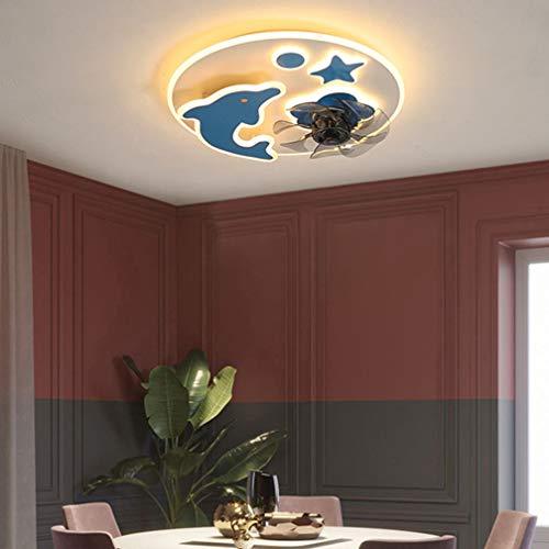 54W ventilador de techo con ventilador vivero luz LED regulable LED Luz silenciosa ventilador de techo con mando a distancia, la lámpara ajustable ventilador de techo Ø50cm * 13cm,Azul,Dolphin
