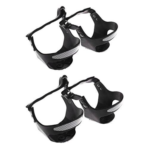 MagiDeal 2 Paires Chaussure Pointes De Neige Glace Réfléchissante Grips Crampons De Traction 5 Dents L + XL