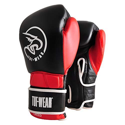 TUF WEAR Boxing Creed Sparring-Handschuh, Leder, Schwarz/Rot, schwarz/rot, 453,6 g (16 oz)