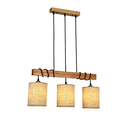 GRFH Lampe Suspension créative de Salon Moderne Lampe Suspendue rectangulaire en Bois Lustre en Plafond Lustre en Tissu à 3 lignées Lampes à économie de Mode