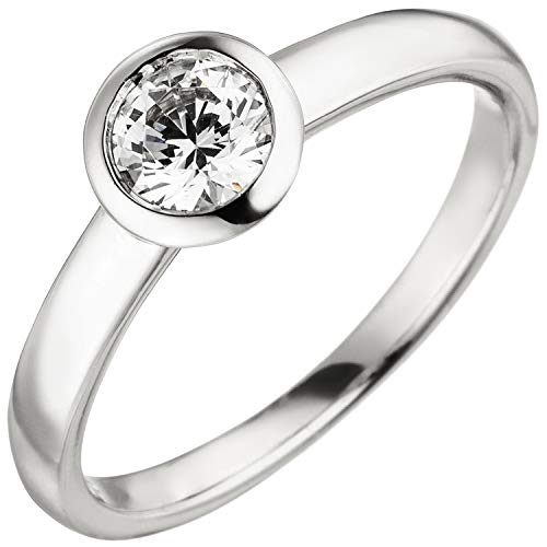 Jobo Damen Ring 585 Gold Weißgold 1 Diamant Brillant 0,50 ct. Diamantring Solitär Größe 56