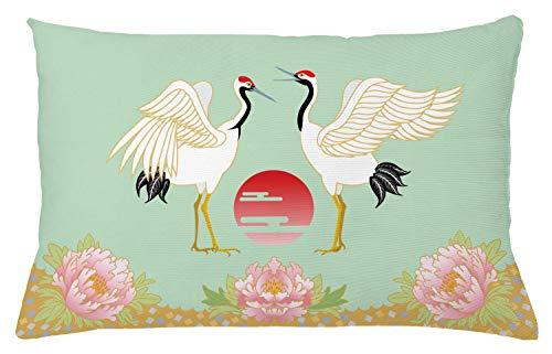 ABAKUHAUS Pluma Funda para Almohada, Grullas Japonesas Amanecer, Colores Perdurables Tela Lavable, 65 x 40 cm, Multicolor