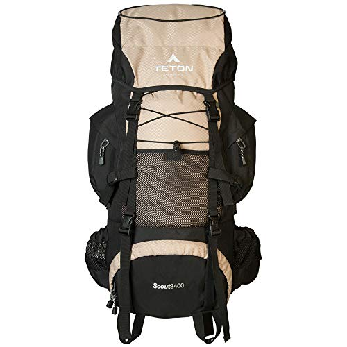 TETON Sports Scout 3400 Internal Frame Backpack; High-Performance Backpack for Backpacking, Hiking, Camping; Coyote Tan, 30 x 17 x 12 (121T)