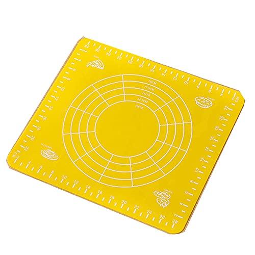 Silikon Backunterlage Mit Maß-Nudelholz + Teigschaber-Schneider Für Kuchen/Plätzchen/Pizza/Brot,Gelb,70 * 50cm