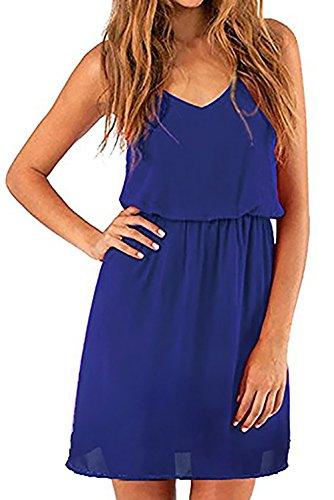 Cassiecy Damen Sommerkleid Elegant Ärmellos V-Ausschnitt Chiffon Casual Strandkleid Minikleid (S, Blau)