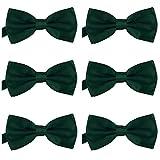 DonDon Lot de 6 Noeud papillon pour homme 12 x 6 cm avec crochet déjà lié et réglable Vert foncé