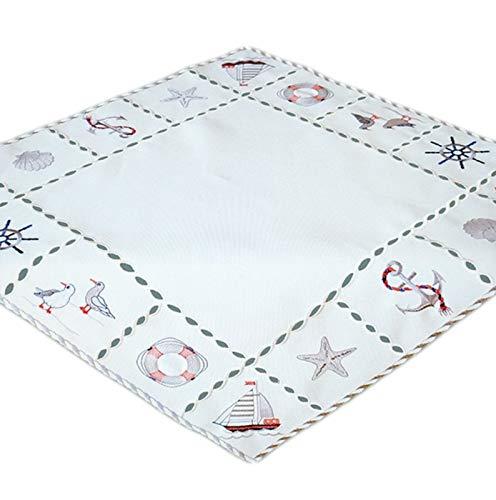 Raebel Tischdecke Tischläufer Mitteldecke Maritime Stickerei, wollweiß mit bunter Stickerei 60 x 60 cm/Aufmachung 1 Stück