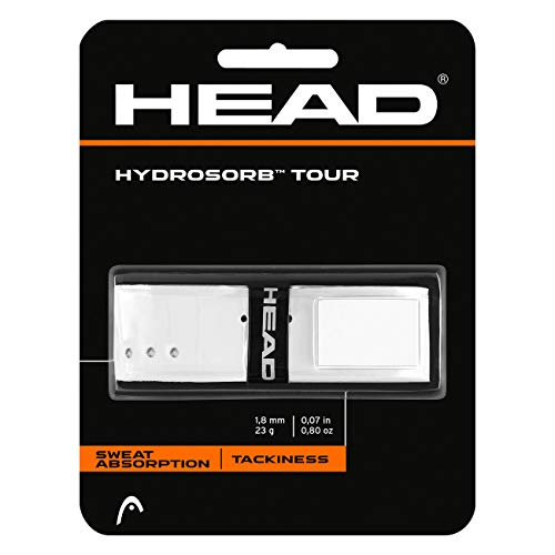 HEAD Hydrosorb Tour Tennis Racket Replacement Grip - Tacky Racquet Handle Grip Tape - White