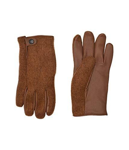 UGG Mens Snap Tab Fabric Tech Glove, Chestnut, Size Large/X-Large