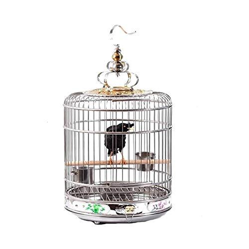 Gabbia per uccelli durevole e rispettosa dell'ambi Carrier di viaggio per Birds Cage Bird Birds Iron Birds Cage di volo con gancio Pappagallo Allevamento Terrario Acciaio inox Birdcaggi Appeso Appeso
