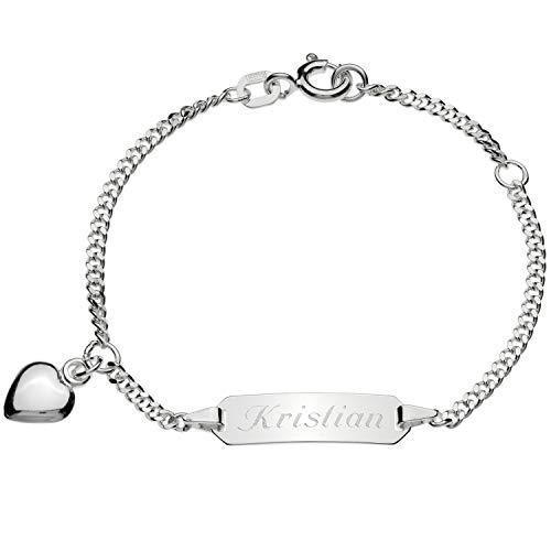 Schmuck-Pur Echt Silber Baby-ID-Armband Herz mit Gravur 14cm