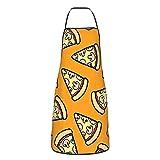 Delantal de seta con patrón de pizza para hombre y mujer, delantal ajustable duradero para cocina, restaurante