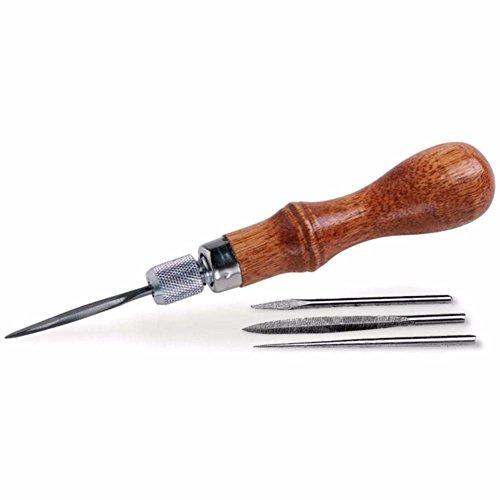 Liamostee Professionell Leder Craftool 4-in-1 Awl Klingen Set Leder Spitzen Meißel Nähte Loch Stanze Werkzeuge