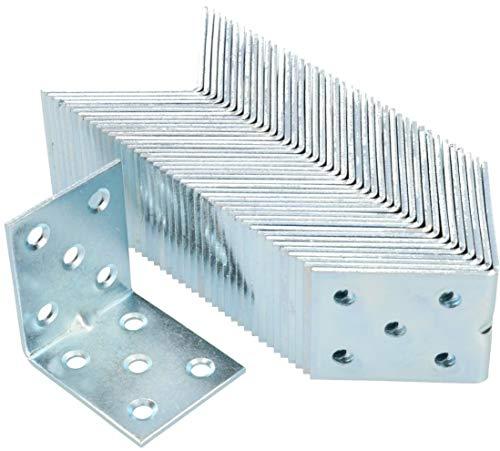 KOTARBAU Winkelverbinder 50 x 50 x 40 x 2 mm mit Sicke Stahl Bauwinkel Montagelöcher Möbelverbinder Verzinkt Schwerlast Holzverbinder Montagewinkel (50)