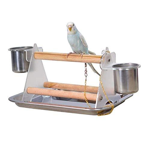 MMIAOO - Supporto da tavolo per pappagalli, in legno, con treppiedi e vassoio in acciaio inox, per mangiare, per animali domestici, per animali domestici, per il parco giochi e per uccelli
