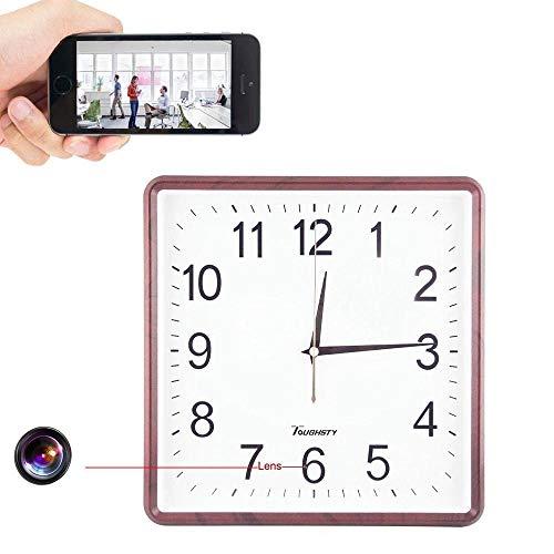 GEQWE Telecamera Stenopeica con Orologio da Parete WiFi, 1080P HD Motion Detector Clock P2P IP Cam Baby Monitor, Sicurezza Domestica DVR Nanny Hidden Cam