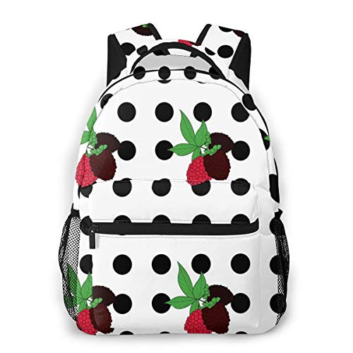 BOFJHASIFHAOAS Laptop Schoolbag Casual Lightweight Travel Sports Backpack Unisex(BlackBerry Polka Dots)
