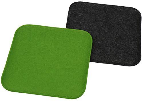 com-four 2X Juego de Cojines de Asiento tapizados, Cojines de Silla para sillas y Bancos - Cojines de Asiento Cuadrados para Comedor, jardín - 35 x 35 x 2 cm (02 Piezas - Cuadrado Antracita/Verde)