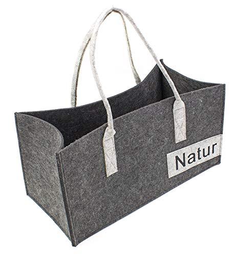 Luxflair XXL Filz Tragetasche in unterschiedlichen Farben, Bestickte Damen Shoppingtasche, besonders groß: 50 x 25 cm, ALS Handtasche oder Einkaufstasche, 50x25x50cm, Dunkelgrau/Graumeliert