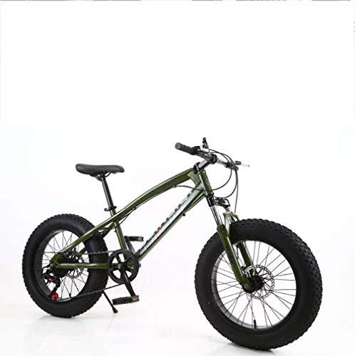 AISHFP Fat Tire Mens Mountain Bike, Doppio Freno a Disco in Acciaio /-Alto tenore di Carbonio Telaio Cruiser Bikes, Spiaggia motoslitta Bicicletta, 26 Pollici Ruote,G,24 Speed
