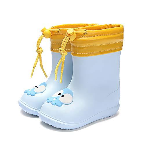 Nasogetch Kinder Gummistiefel Jungen Mädchen Winter Regenschuhe Regenstiefel mit Abnehmbaren Warmen Futter Blau 150