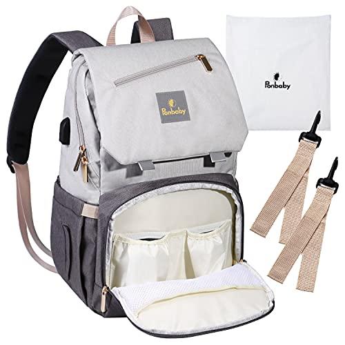 Ponbaby マザーズバッグ リュック (防水/大容量) ママバッグ 多機能 ポケット USBポート付き (オフホワイト×グレー)