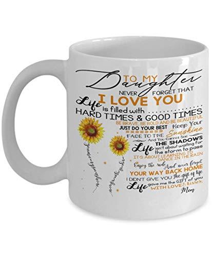 Tasse mit Sonnenblume To My Daughter Never Forget That I Love You – To My Dear Daughter In Law I Gave You My Amazing Son – Weihnachtsgeschenke, Kaffeetasse, Geburtstagsgeschenke, 325 ml