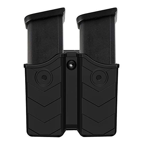 Universal Magazine Holster, Double Stack Magazine Pouch for 9mm .40 Dual Stack Magazines, Mag Holder with Adjustable Belt Clip for Glock/S&W/Ruger/Sig Sauer/Taurus/Beretta/Springfield/CZ/Walther/H&K
