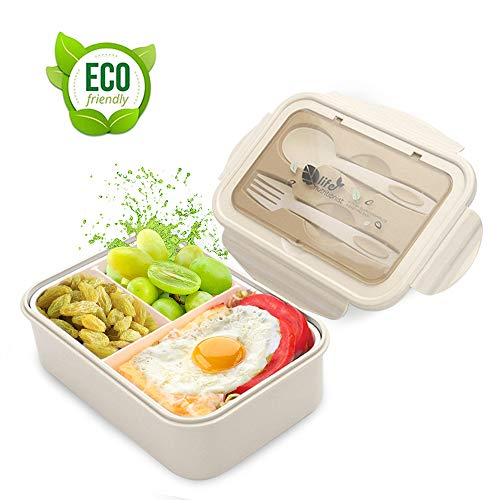 LAKIND Lunch Box, Porta Pranzo, 1400ml Kids Bento Box con 3 Scomparti e Posate(Forchetta e Cucchiaio), Lavastoviglie/Approvato dalla FDA/Senza BPA. (Beige)