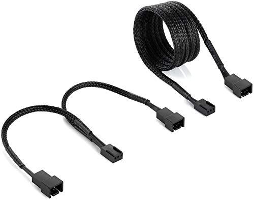 Poppstar 3 Pin Lufter Kabel Set 15cm Y Kabel 1x Buchse auf 2X Stecker 90cm Verlangerungskabel zum Anschluss von Prozessor und Gehauselufter an Mainboard