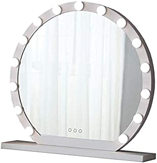 Daily Necessities Round Vanity Mirror with LED Lights Kit   Hollywood Style Makeup Mirror LED Lights with 10/12/15 Dimmable Light Bulbs for Makeup Dressing Tables(White) (Size : Diameter 40cm)