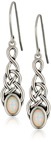 Sterling Silver Created Opal Celtic Knot Linear Drop Earrings, White