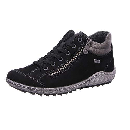 Remonte Damen R1483 Sneaker, Schwarz (Schwarz/Altsilber/Schwarz 02), 38 EU