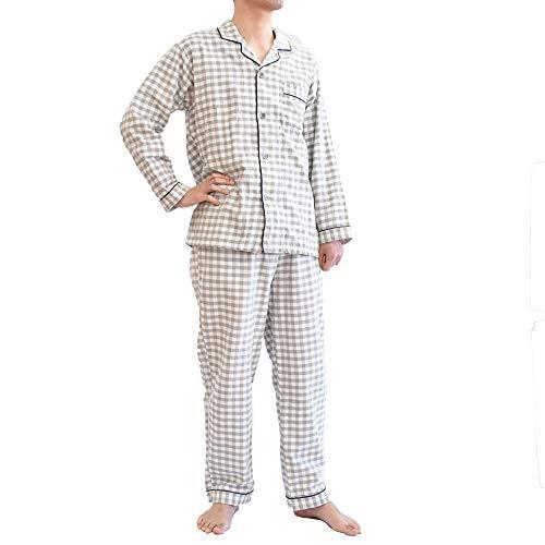 【寝汗を吸収、さらり着心地。今治タオルのパジャマ】 パジャマ メンズ タオル地 Mサイズ チェック柄 グレ...