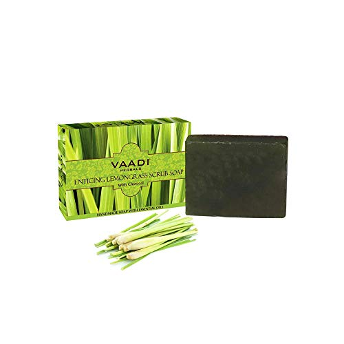 Vaadi Herbals Value Pack Of 3 Enticing Lemongrass Scrub Soap Bar For All Skin Type 75 Gms X 3