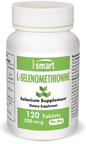 Supersmart - L-Selenomethionine 200 mcg Per Day - The Most Bioavailable Form of Selenium - Protects DNA from Oxidation | Non-GMO & Gluten Free - 120 Tablets