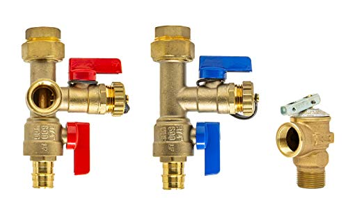 Libra Supply Lead Free 3/4 inch Expansion PEX Tankless Water Heater Isolation Valve Kit(Not Crimp PEX), with Pressure Relief Valve, FNPT x Expansion PEX A, 3/4'' Service Valve for Rheem, Rinai, Navien