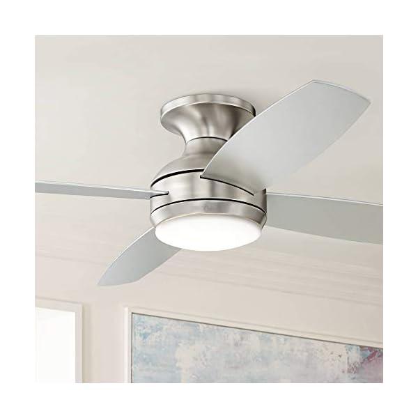 52″ Casa Elite Modern Hugger Low Profile Ceiling Fan with Light LED Dimmable Remote Control Flush Mount Brushed Nickel for Living Room Bedroom – Casa Vieja