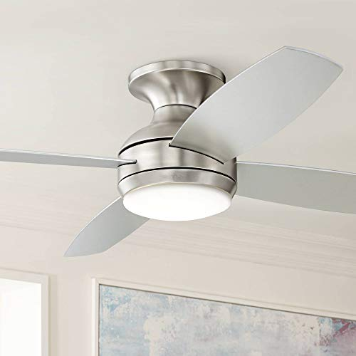 "52"" Casa Elite Modern Hugger Low Profile Ceiling Fan with Light LED Dimmable Remote Control Flush Mount Brushed Nickel for Living Room Bedroom - Casa Vieja"