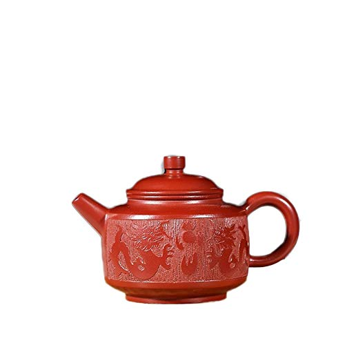 Tetera Tetera Hecha a Mano Tetera de Yixing del Mineral Dahongpao Shuanglong Opera Perla Tetera Tetera Arena Pot El Sistema de té clásica (Color : Big Red Pouch)