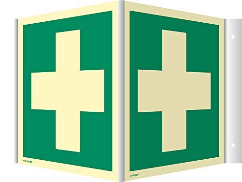 Schild Winkelschild Nasenschild Erste Hilfe HIGHLIGHT PVC 20 x 20 cm | Leuchtdichte: 160 mcd/m² | Rettungsschild | wetterfest