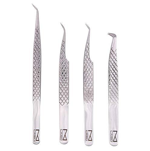 M LASH Lot de 4 pinces pour extensions de cils en acier japonais Argenté