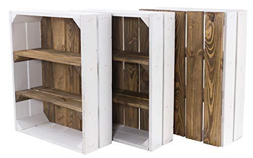 """3X Vintage-Möbel 24 Flache Holzkiste in weiß mit """"Used"""" Rückwand und Mittelbrettern 50cm x 40cm x 16cm Apfelkisten Obstkiste Weinkisten Weiss braun Vintage Holzschrank Ablageregal Holz gebraucht alt"""