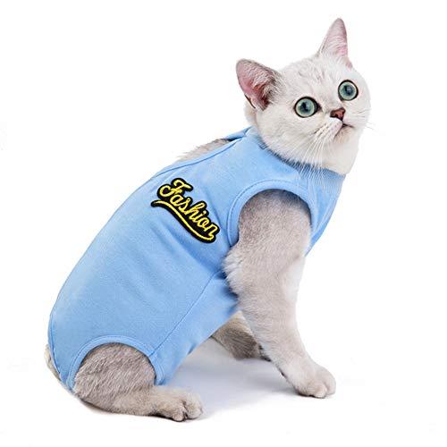 ZUOLUO op Body für Hunde Katzenbody Nach Op Hundeweste nach der Operation Katzen Kleidung Katzenmäntel für Haustiere Dog Recovery Suits Blue,L
