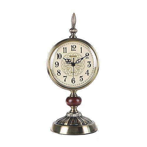 FMOGE Reloj De Sobremesa Reloj De Mesa con Manto De Metal Relojes De Escritorio Antiguos Hogar Cocina Habitación Decorativa con Pilas SilenciosoDiseño Creativo Nórdico Regalos (Color: Bronce)